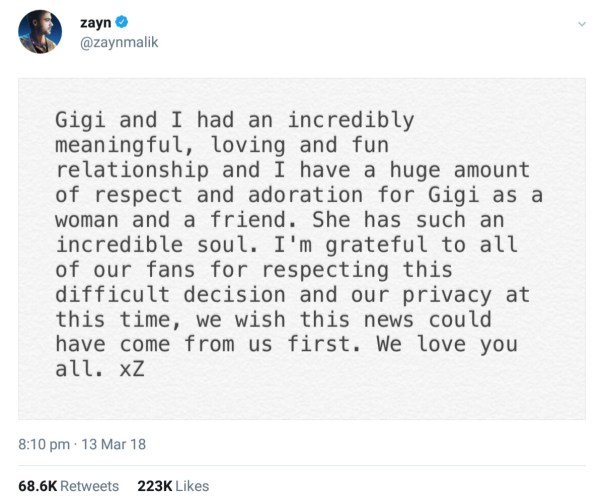 Zayn Malik And Gigi Hadid Confirm Split (3)