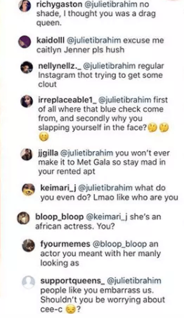 Juliet Ibrahim Left A Face Palm Emoji On Nick Minaj Photoi (2)
