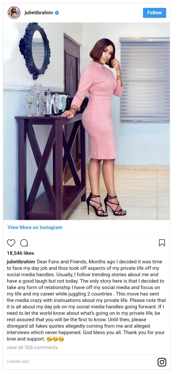 Juliet Ibrahim Addresses Rumoured Split With Iceberg Slim (2)