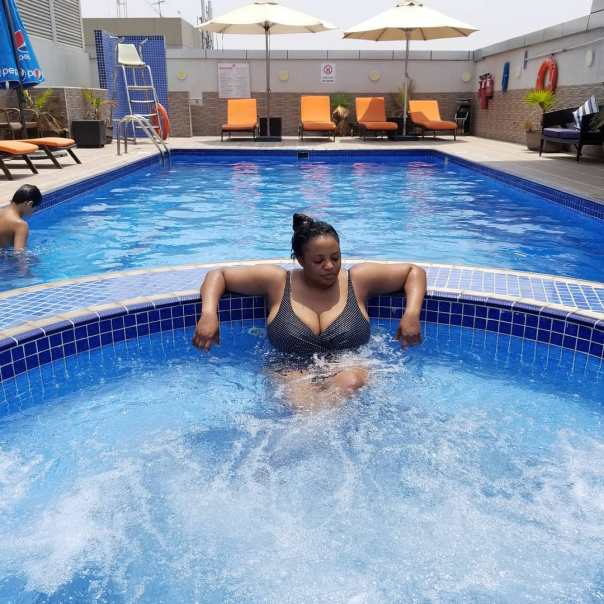 Funke Adesiyan And Her Huge Boobs In The Pool