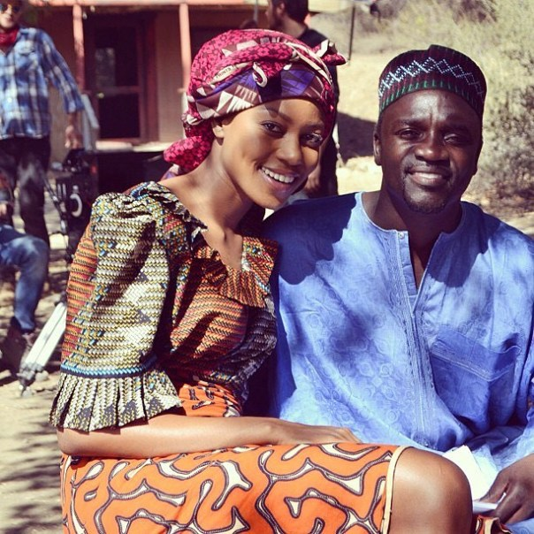 Yvonne Nelson And Akon Pictured On Set Of New Movie (2)
