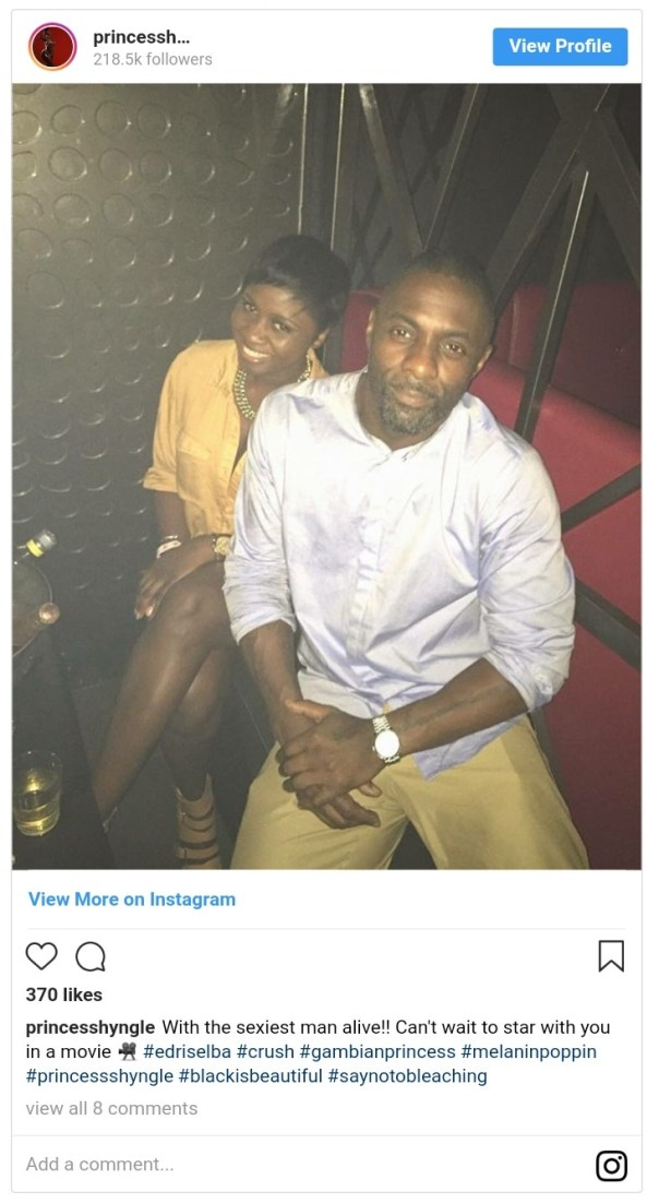 Princess Shyngle Tells Idris Elba She Can't Wait To Star With Him