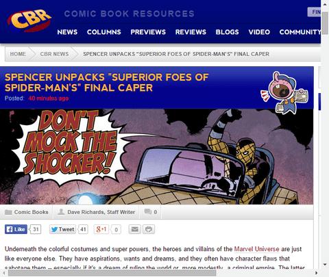 シリーズ終了したスペリアー・フォース・オブ・スパイダーマンについてニック・スペンサーのインタビュー!