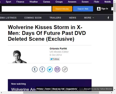 映画「X-MEN:デイズ・オブ・フューチャー・パスト」のウルヴァリンとストームの削除されたキスシーン映像!
