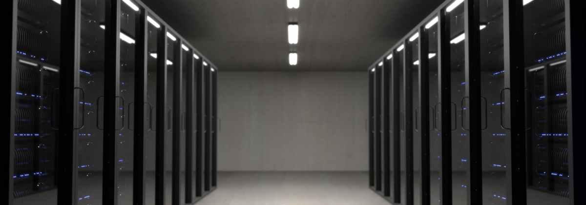 black server racks on a room