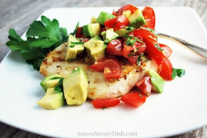 Halibut with Avocado Relish plate