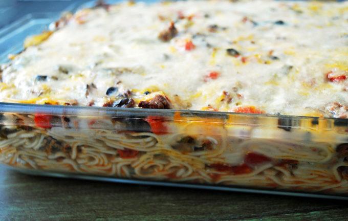 pan of freshly baked spaghetti casserole