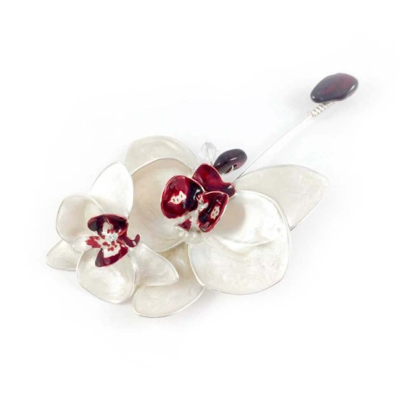 orchid flower wedding pin