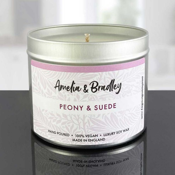 peony and suede candle