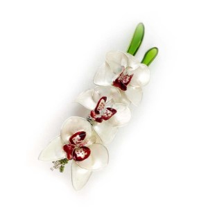 white orchid flower brooch