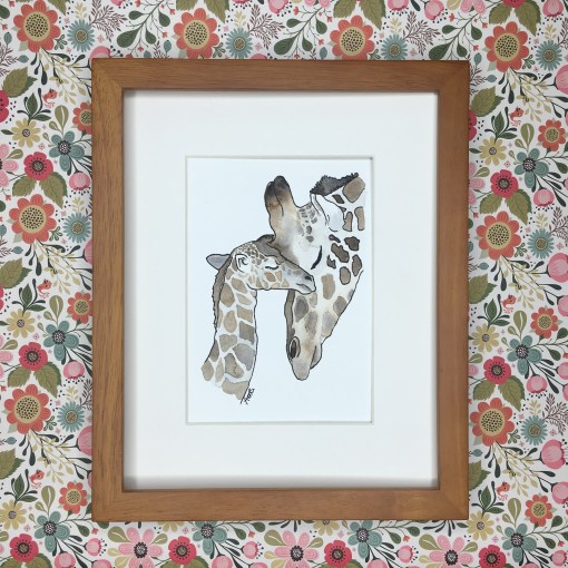 baby giraffe watercolour art print