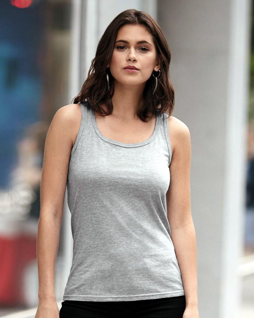 Model wearing Anvil Ladies'Missie Cut Tank Top