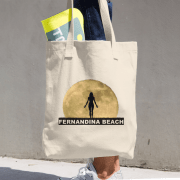 Full Moon Yoga Beige Tote being carried