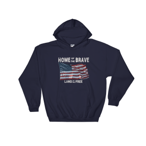 Brave Land of the Free Gildan Hooded Sweatshirt Navy