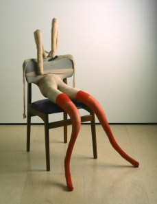 Bunny Gets Snookered #10 by Sarah Lucas, 1997. Tan tights, red stockings