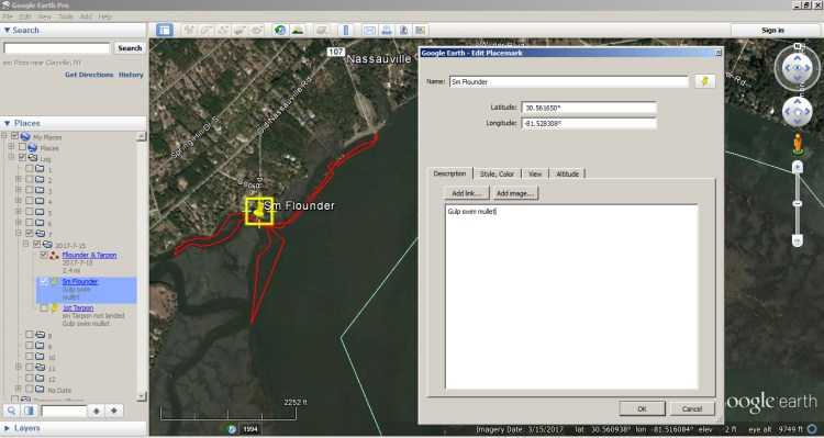 How to use Google Earth as a Fishing Log 7