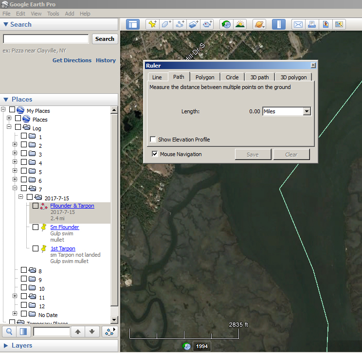 How to use Google Earth as a Fishing Log 4