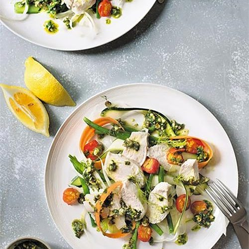 Poached Chicken, Crunchy Vegetables, Herb Dressing by Amelia Freer