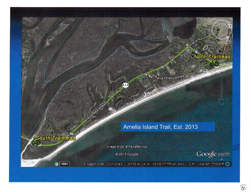 Amelia Island Trail Maps map of Amelia Island Trail aerial view from Google Earth