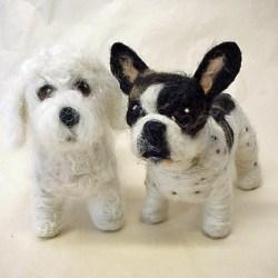 Felted French Bulldog and Bichon