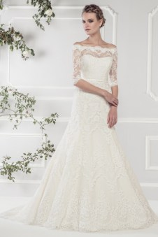11418 - Romantic A line gown crafted with delicate lace over satin. Floor-sweeping lace with very flattering off-shoulder lace sleeve style and lace detailed low back. Stylish white satin belt highlights the waist.