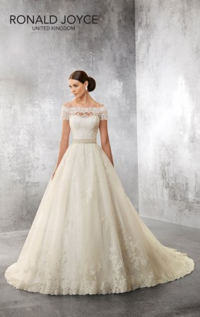 Aryana - A TRADITIONAL LOOKING BALL GOWN DESIGN WITH OFF THE SHOULDER LACE BODICE, ILLUSION BACK, SHORT SLEEVES AND A BEAUTIFUL BEADED WAISTBAND