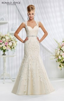 Evelyn - LACE OVER ORGANZA AND SATIN, SHEER BACK DETAIL AND EMBELLISHED WAISTBAND