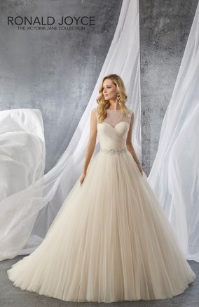 Josie - A TULLE AND ORGANZA BALL GOWN WITH BEADED BELT DETAIL, AN ILLUSION NECKLINE AND BACK