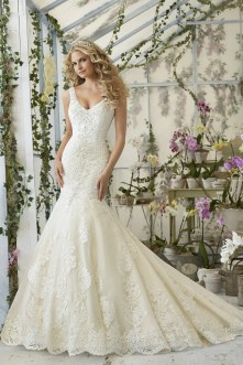 Style 2814 - Crystal Beaded Embroidery on Tulle Wedding Dress with Alencon Lace Appliques and Scalloped Hemline