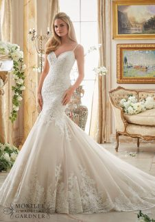 Style 2871 - Very Romantic Alencon Lace Appliques on Tulle with Wide Scalloped Hemline Wedding Dress