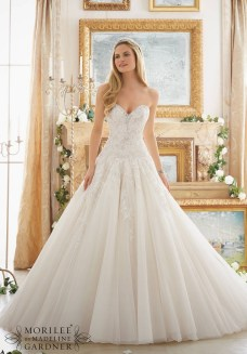 Style 2877 - Rose Patterned Embroidery with Crystal Beading on Tulle Ball Gown Wedding Dress