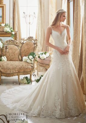 Style 2883 - Diamante Beading Trims the Tulle Gown with Embroidered Lace Appliques and Scalloped Hemline Wedding Dress