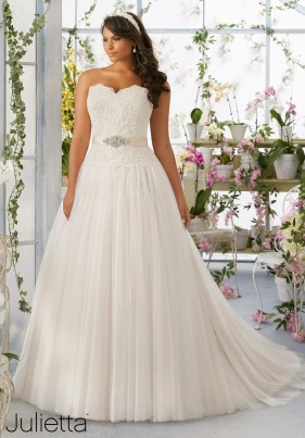 Style 3193 - Embroidered Lace Bodice onSoft Net Wedding Dress Skirt with Medallion Beaded Satin Waistband