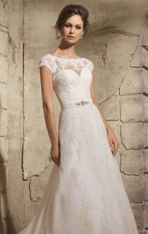 Style 5370 - Embroidered Lace Appliques on Net with Wide Border Hemline Wedding Dress