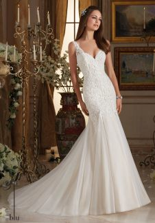 Style 5464 - Frosted Alencon Lace Appliques on Soft Tulle Wedding Dress