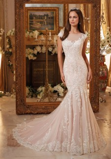 Style 5466 - Vintage Embroidered Lace on Soft Net Gown with Scalloped Hemline Wedding Dress