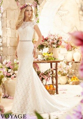 Style 6804 - Romantic Poetic Lace Wedding Dress with Cap Sleeves