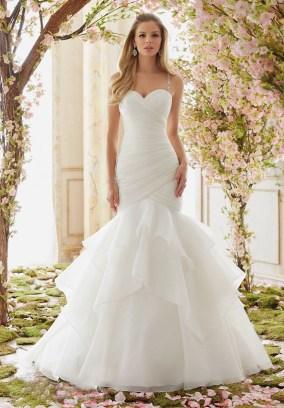 Style 6833 - Crystal Beaded Straps on Organza Wedding Dress