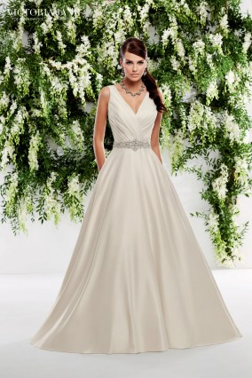 Orleans - A RUCHED BODICE WITH V BACK, EMBELLISHED WAISTBAND AND FULL SATIN SKIRT