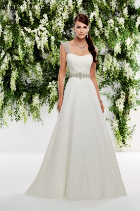 Oslo - CHIFFON DRESS WITH RUCHED BODICE, BEADED STRAPS AND BEADED WAISTBAND