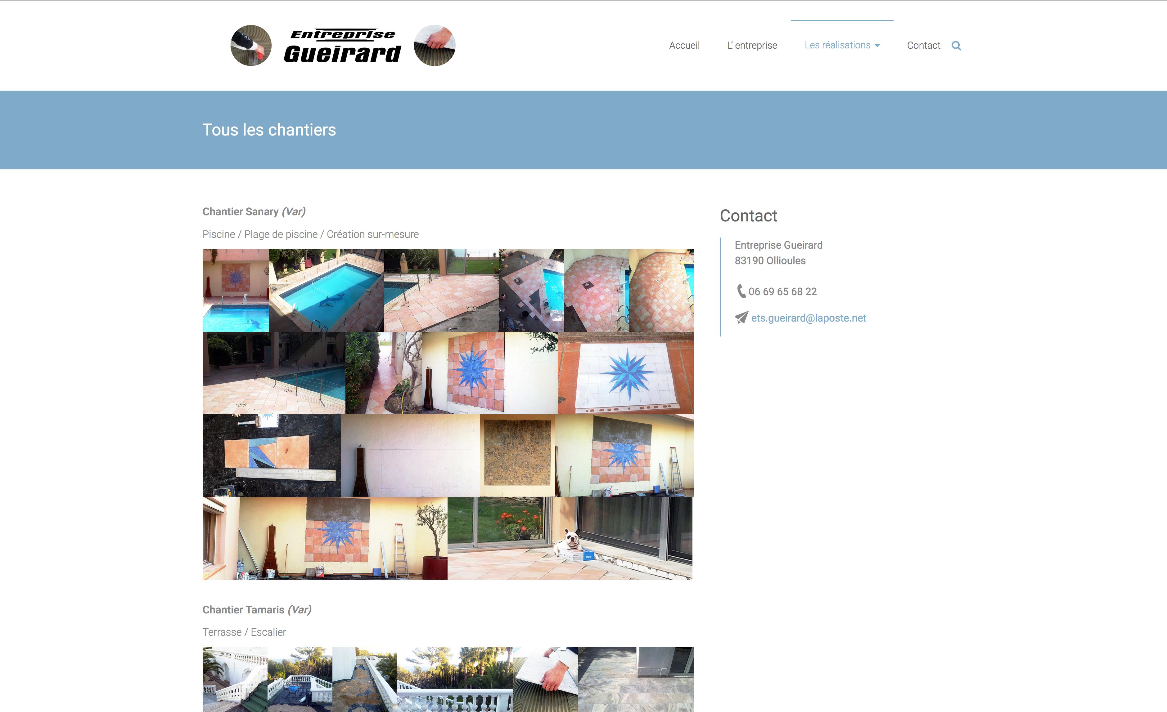 Page Chantiers en mosaïque - Site Entreprise Gueirard