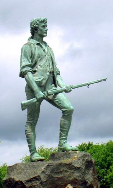 """Minute Man Statue Lexington Massachusetts cropped"" by Minute_Man_Statue_Lexington_Massachusetts.jpg: w:User:Daderotderivative work: Hohum (talk) - Minute_Man_Statue_Lexington_Massachusetts.jpg. Licensed under CC BY-SA 3.0 via Commons."