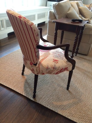 French stripe hides on the back of this bergere.