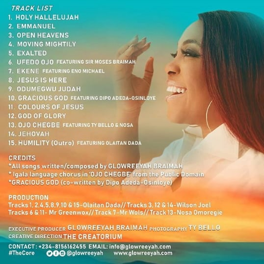 Download: The Core [Tracklist] - Glowreeyah Braimah | Gospel Songs Mp3 Album