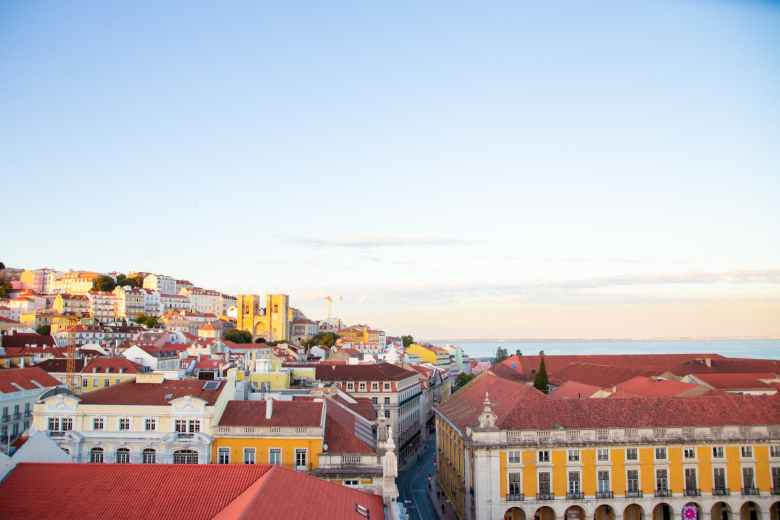 lisbon residential district roofs in twilight