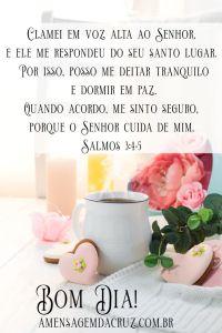 Deus cuida de mim - Linda imagem de café da manhã, em tons de branco e cor de rosa, xícara com café fumegante e arranjo floral e biscoitos em forma de corações. Texto dos Salmos 3:4-5 em uma mensagem de bom dia para ser enviada por WhatsApp