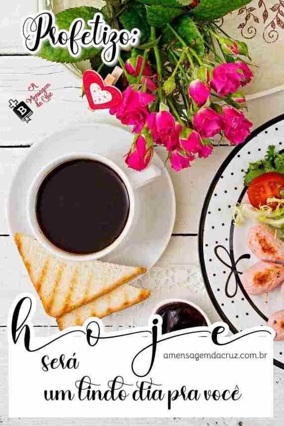 Lindo Dia - Bela mensagem de bom dia com ramalhete de rosas vermelhas, xícara de café da manhã