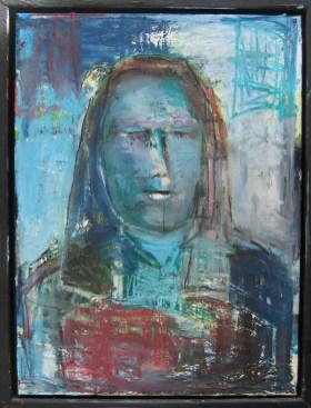 Selvportræt (måler 30x40 cm) Portrættet er altid svært (ikke at jeg har lavet så mange). Skal man forskønne eller gengive nøgternt? I dette eksempel virker jeg som et barskt menneske; hårde træk. Lukkede øjne og jeg ved ikke engang, hvorfor. Jeg må gøre det igen (male nogle flere).