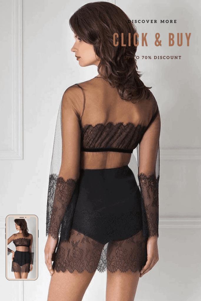 Lavinia Sexy Lingerie Design Lencería Black Elegant Short Attractiveness Transparent