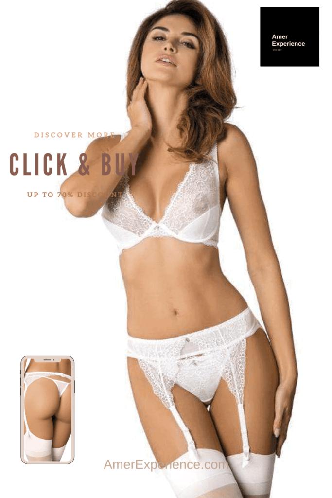 Lavinia Sexy Lingerie Design Lencería Straps White Transparent Beautiful